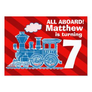 """Todos a bordo de fiesta de cumpleaños del tren de invitación 5"""" x 7"""""""