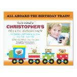 Todos a bordo del cumpleaños del muchacho del tren invitaciones personalizada