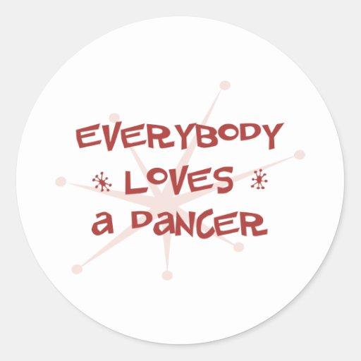Todos ama a un bailarín etiquetas redondas