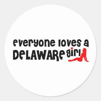 Todos ama a un chica de Delaware Pegatina Redonda