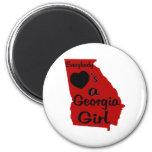 Todos ama a un chica de Georgia rojo y negro Imanes