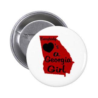 Todos ama a un chica de Georgia rojo y negro Pins