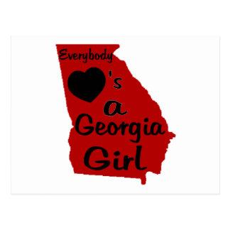 Todos ama a un chica de Georgia rojo y negro Tarjeta Postal