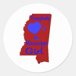 Todos ama a un chica de Mississippi carmesí y azul Etiquetas Redondas