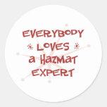 Todos ama a un experto de Hazmat Pegatina Redonda