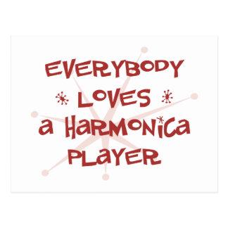Todos ama a un jugador de la armónica tarjeta postal