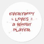Todos ama a un jugador del rugbi etiqueta redonda