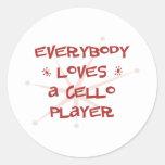 Todos ama a un jugador del violoncelo pegatinas redondas