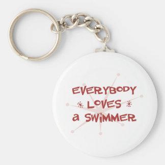 Todos ama a un nadador llaveros personalizados