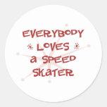 Todos ama a un patinador de la velocidad pegatinas redondas