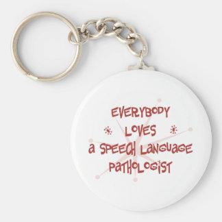 Todos ama a un patólogo de la lengua del discurso llavero redondo tipo pin