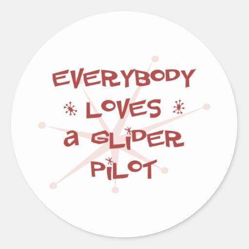 Todos ama a un piloto de planeador pegatinas redondas