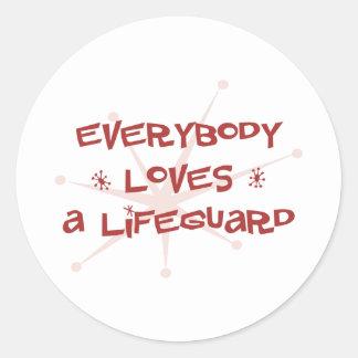 Todos ama a un salvavidas etiqueta redonda