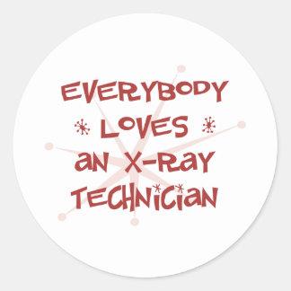 Todos ama a un técnico de la radiografía pegatina redonda
