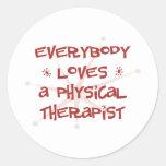 Todos ama a un terapeuta físico pegatina redonda