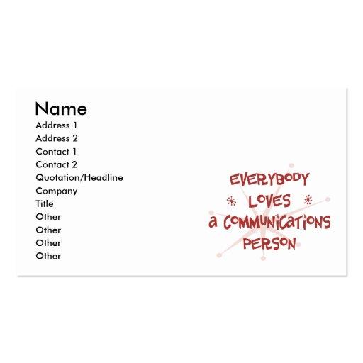 Todos ama a una persona de las comunicaciones tarjetas de visita