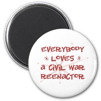 Todos ama una guerra civil Reenactor Imán Redondo 5 Cm