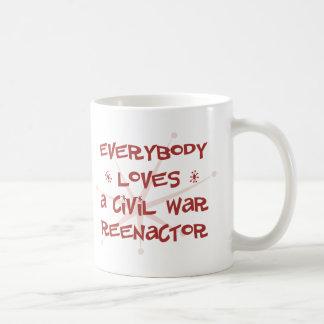 Todos ama una guerra civil Reenactor Taza Básica Blanca