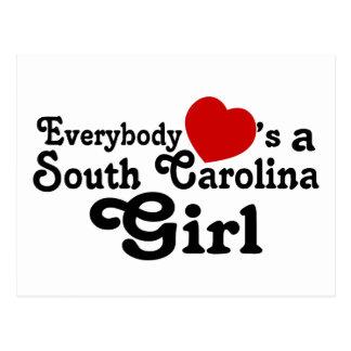 Todos corazones un chica de Carolina del Sur Postal