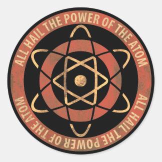 Todos granizan el poder del logotipo retro del pegatina redonda