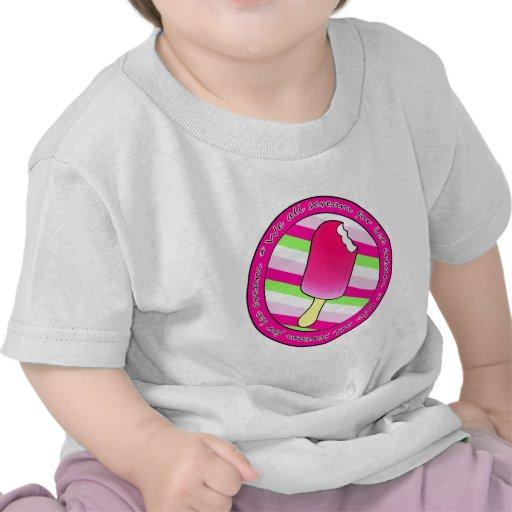 Todos gritamos para el helado - rosa con las rayas camiseta