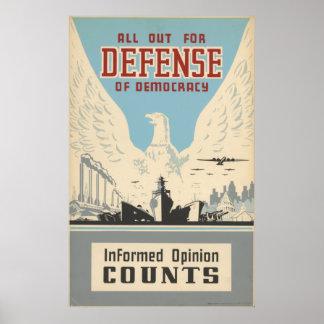 Todos hacia fuera para la defensa de la democracia posters