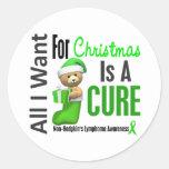 Todos lo que quiero para el linfoma Non-Hodgkin Pegatina Redonda