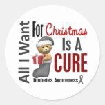 Todos lo que quiero para la diabetes del navidad etiquetas redondas