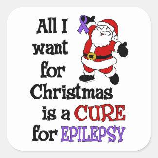 Todos lo que quiero para la epilepsia del navidad… pegatina cuadrada