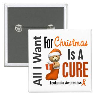 Todos lo que quiero para la leucemia del navidad pin cuadrada 5 cm