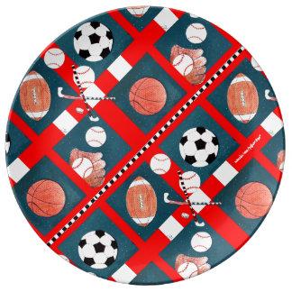 Todos los amantes de los deportes coloridos plato de cerámica