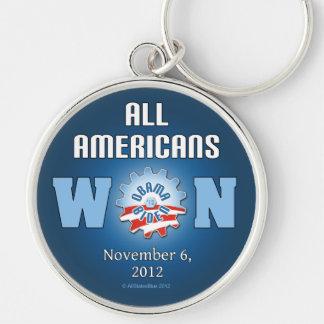 Todos los americanos ganados el 6 de noviembre de  llavero redondo plateado