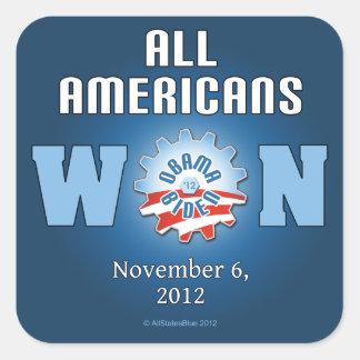 Todos los americanos ganados el 6 de noviembre de pegatina cuadrada