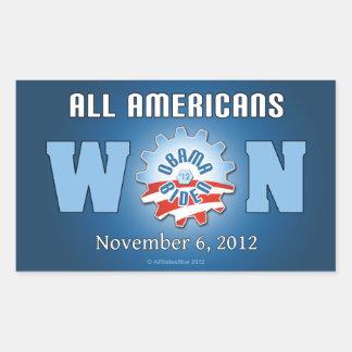 Todos los americanos ganados el 6 de noviembre de pegatina rectangular