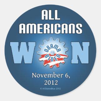 Todos los americanos ganados el 6 de noviembre de pegatina redonda