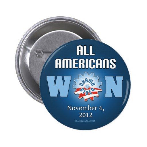 Todos los americanos ganados el 6 de noviembre de  pin redondo 5 cm