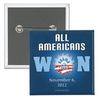 Todos los americanos ganados el 6 de noviembre de  pin cuadrado
