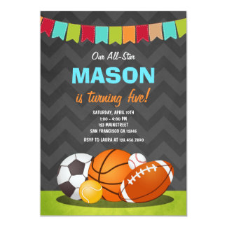 Todos los deportes de la invitación del cumpleaños