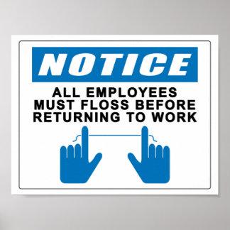 Todos los empleados deben Floss Póster
