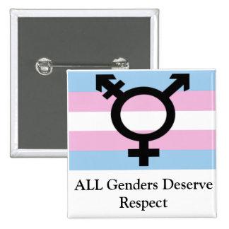Todos los géneros merecen respecto pin cuadrado