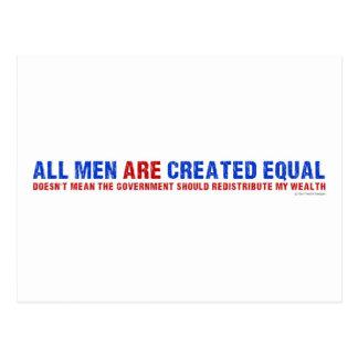 Todos los hombres son igual creado postal