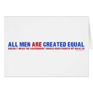 Todos los hombres son igual creado tarjeta de felicitación