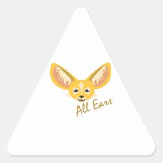 Todos los oídos calcomania de triangulo