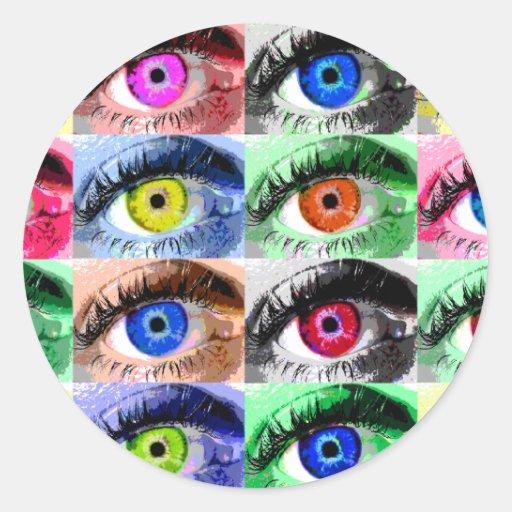 Todos los ojos están en usted pegatina redonda