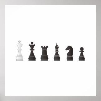 Todos los pedazos de un ajedrez blancos negros posters