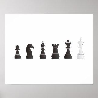 Todos los pedazos de un ajedrez blancos negros impresiones