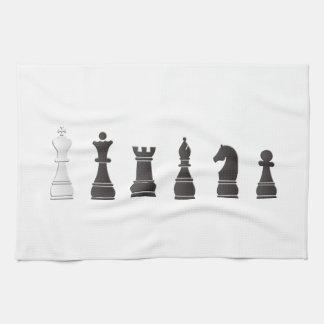 Todos los pedazos de un ajedrez blancos negros toalla de mano