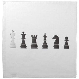 Todos los pedazos de un ajedrez blancos negros servilletas de papel
