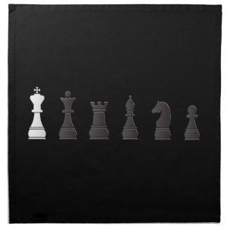 Todos los pedazos de un ajedrez blancos negros servilleta