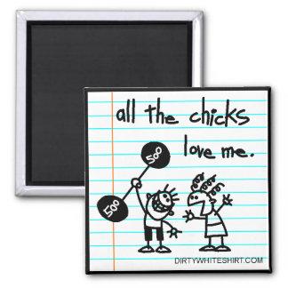 Todos los polluelos me aman imán cuadrado